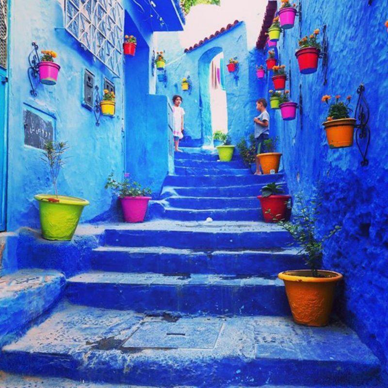 モロッコ 美しい街並み シャンウェイ 青い漆喰の街